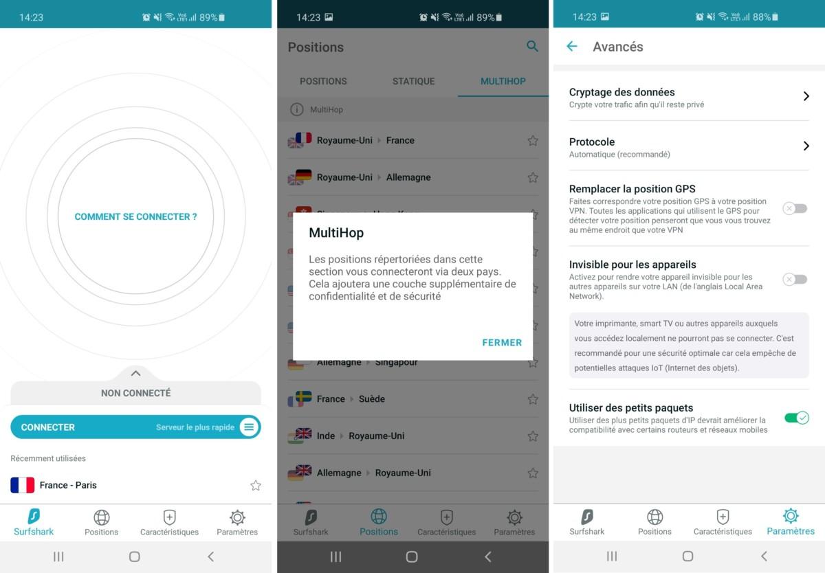 Quelques-unes des fonctionnalités disponibles sur l'application mobile (ici Android) de Surfshark.