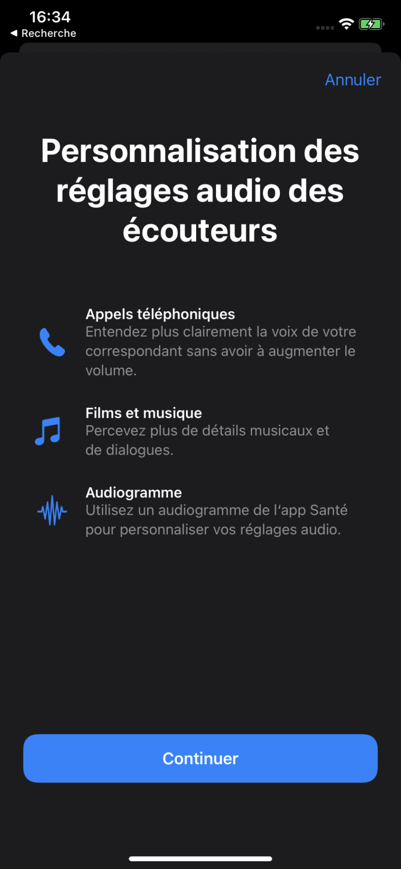 The options for customizing audio settings in iOS 14