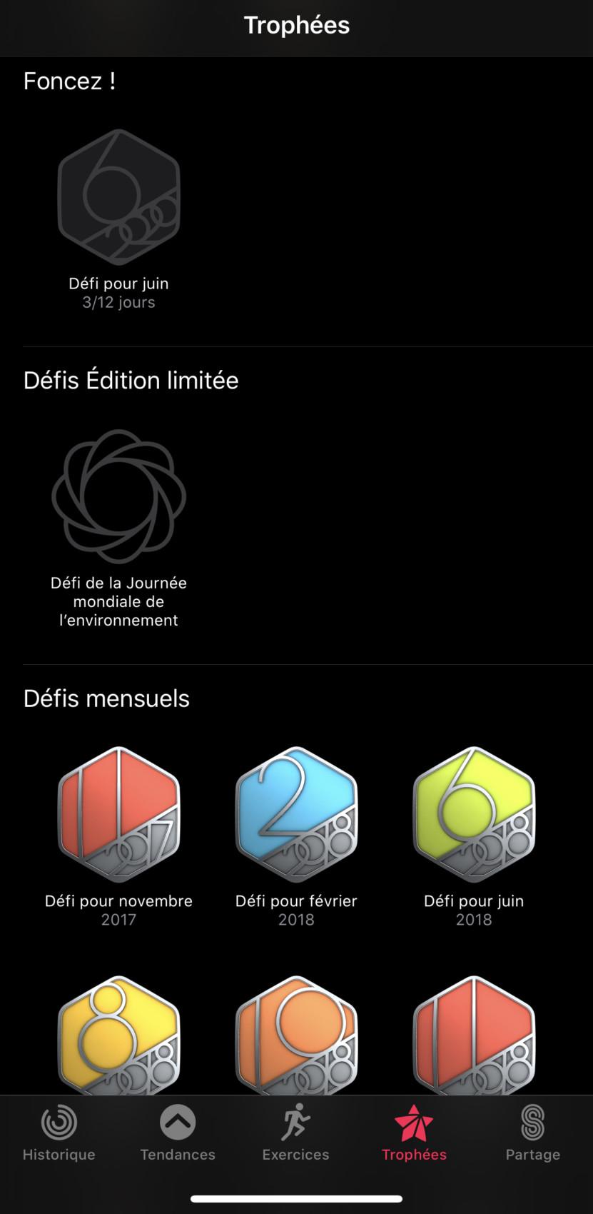 Des trophées de l'appli Activité de l'Apple Watch