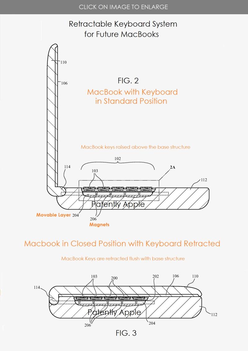 Brevet du clavier rétractable d'Apple
