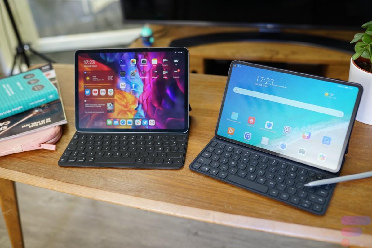 Huawei MatePad Pro aux côtés de l'iPad Pro (gauche)