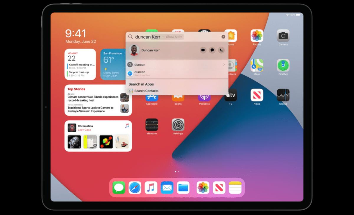 Le moteur de recherche amélioré sur iPadOS 14