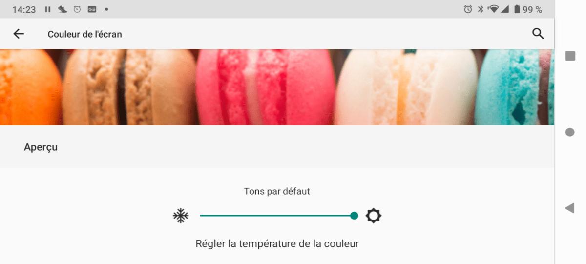 Le réglage de la température des couleurs du Wiko View4