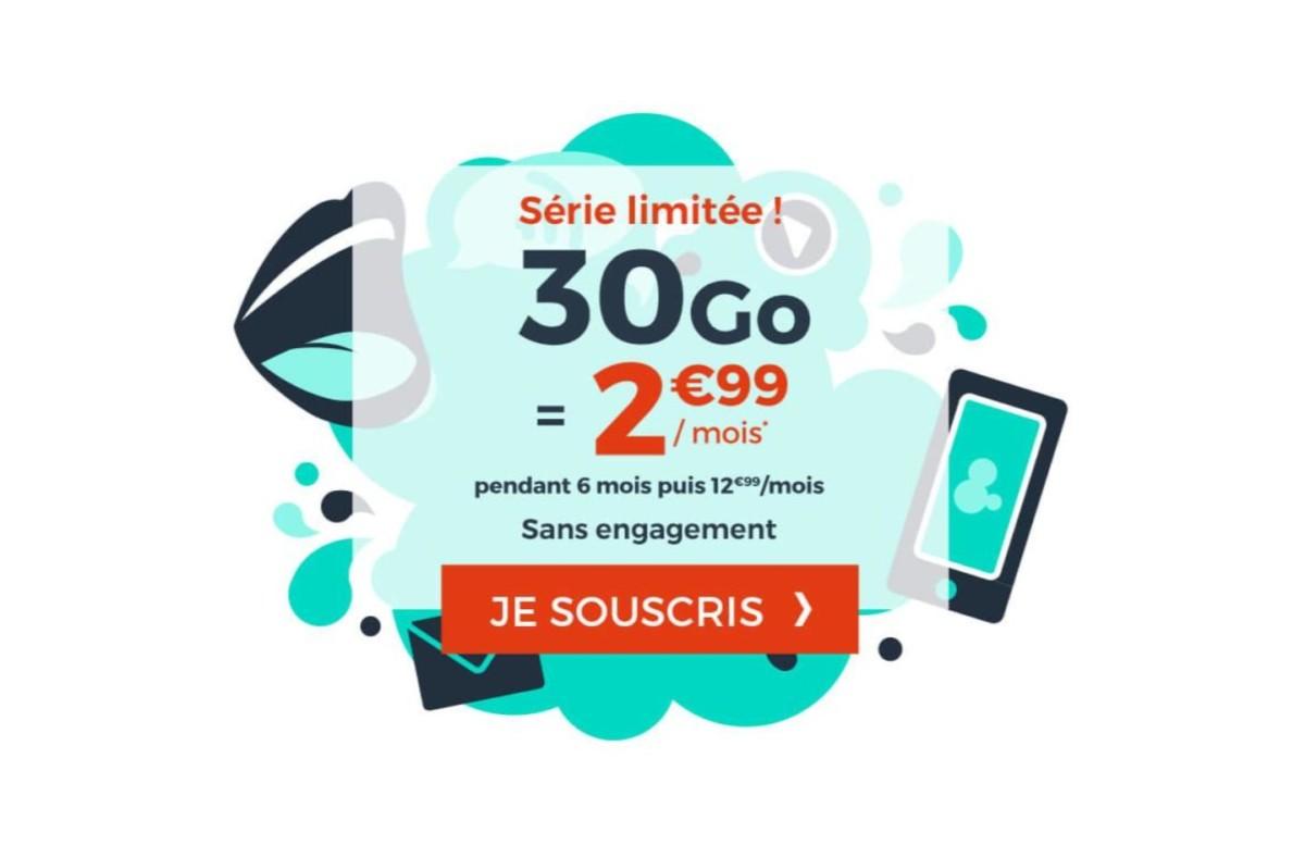 Le forfait mobile 30 Go en France + 10 Go en Europe est de retour à 2,99 €/mois