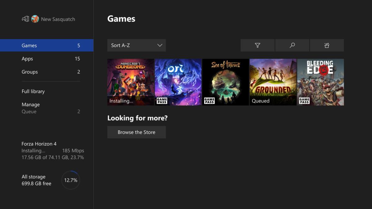Le menu Jeux de la console Xbox