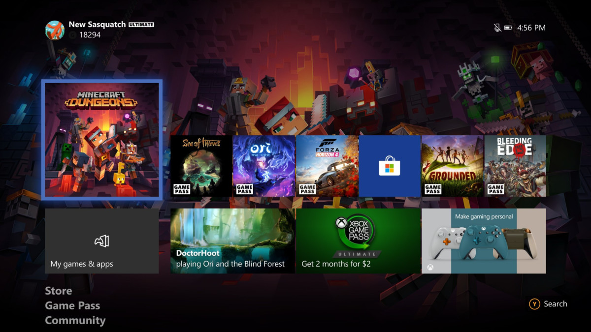 L'interface de la console Xbox