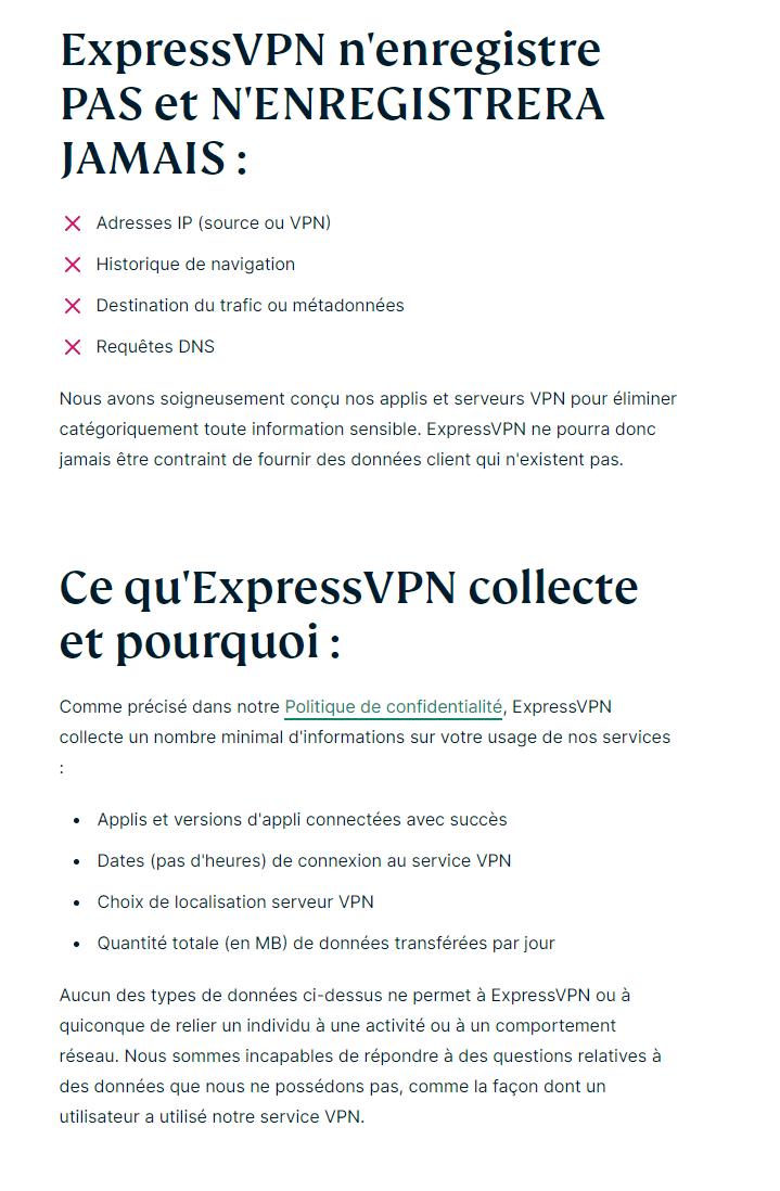 La politique de confidentialité d'ExpressVPN est à la fois claire et transparente.