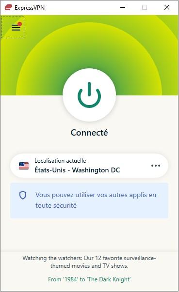 L'interface de l'application pour PC d'Express VPN est minimaliste.