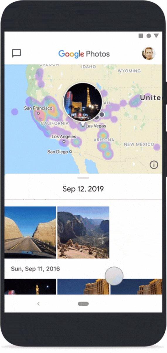 La nouvelle carte de Google Photos