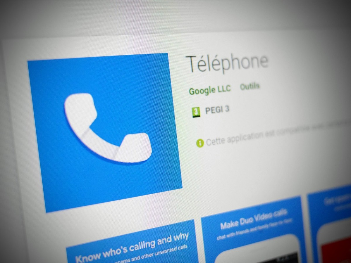 L'application Google Téléphone sur le Play Store