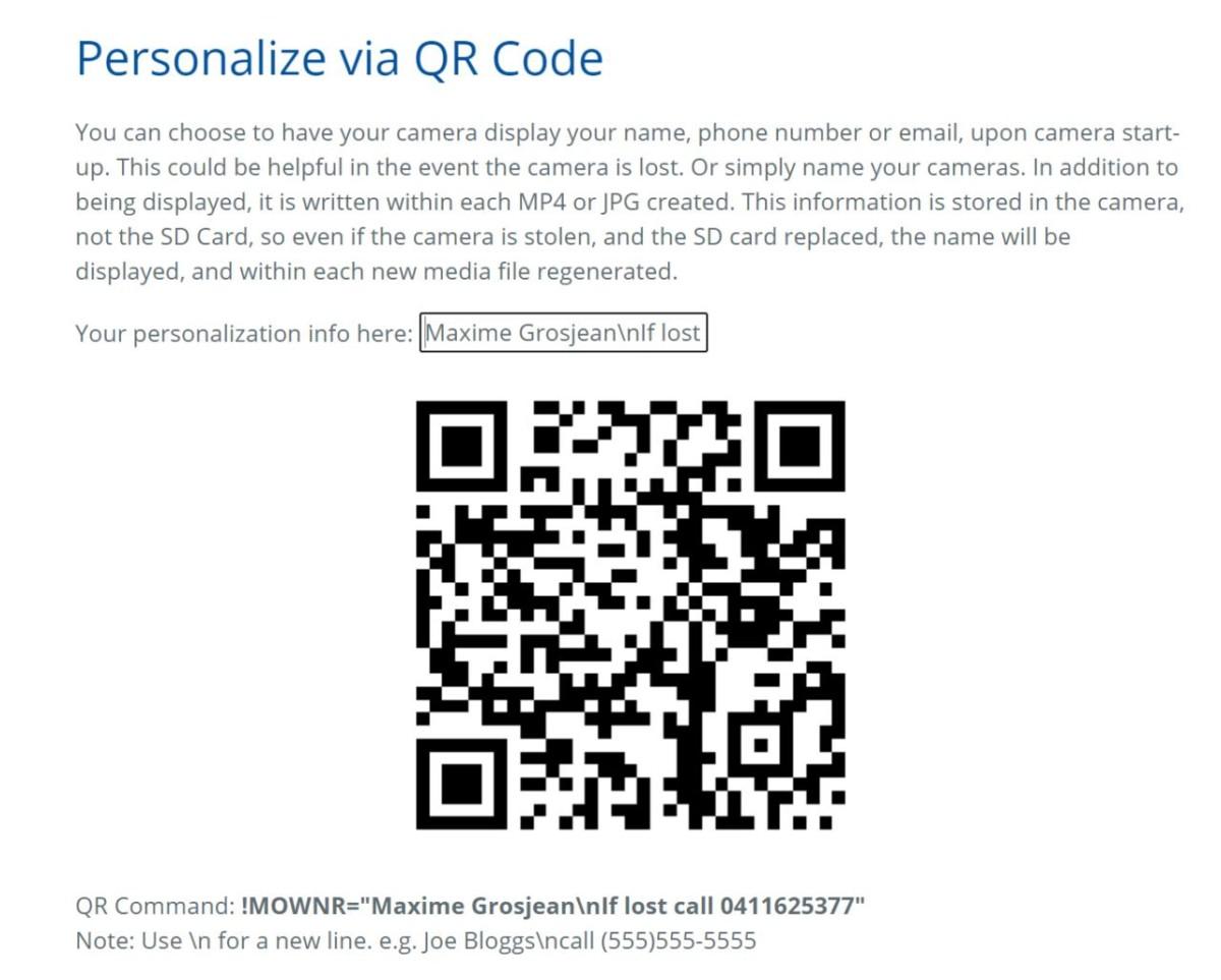 Le QR Code généré pour afficher mes informations lors de l'allumage de la GoPro