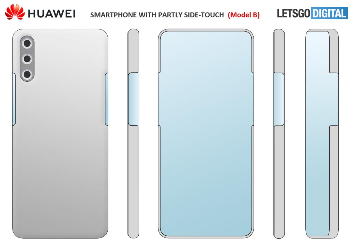 Le schéma du smartphone Huawei avec appareil photo derrière l'écran