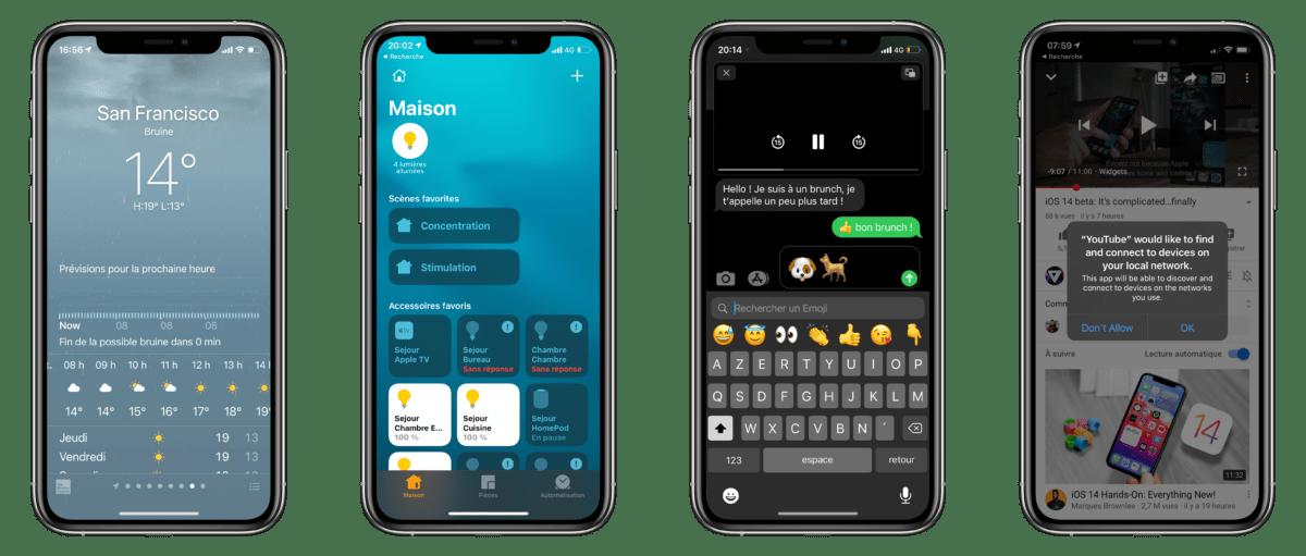 Quelques fonctionnalités en vrac: l'app Météo plus précise dans certaines villes américaines, le tableau de bord offre plus de détails, vous pouvez rechercher un émoji, l'exemple du PiP (bloqué par les DRM pour la capture d'écran) et le nouveau type d'autorisation demandée par les apps (l'exemple de l'accès au réseau local)
