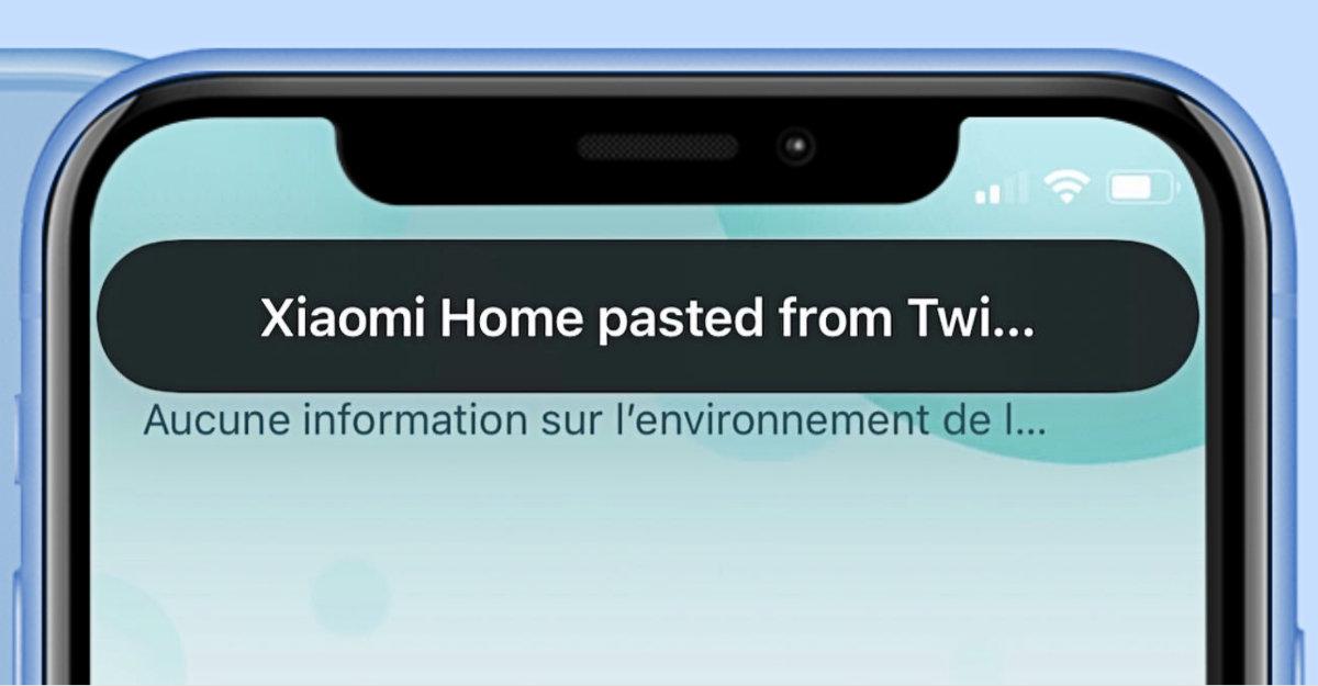 notification d'accès au presse-papier sur iOS 14