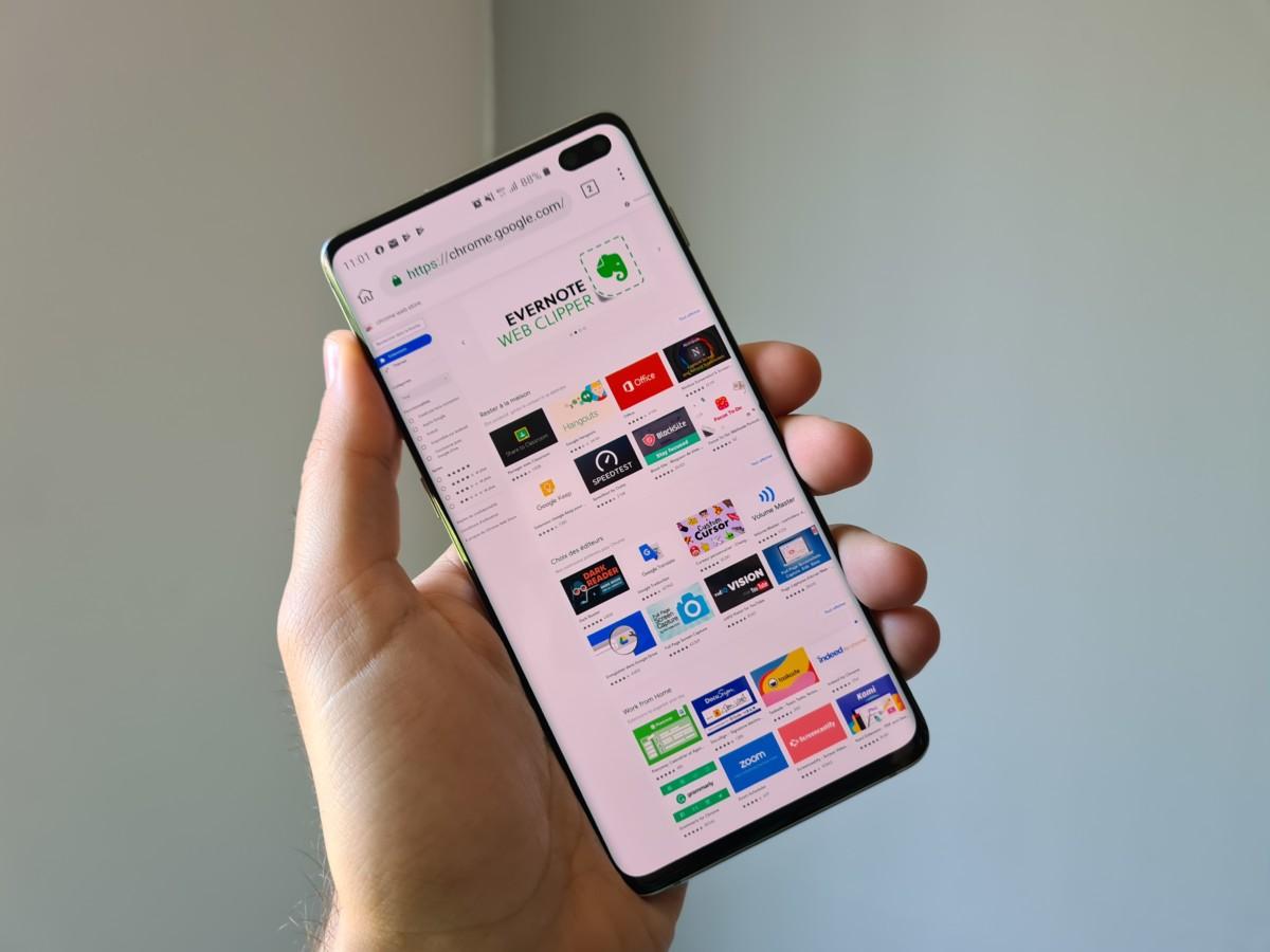Extensions Chrome sur Kiwi sur Android
