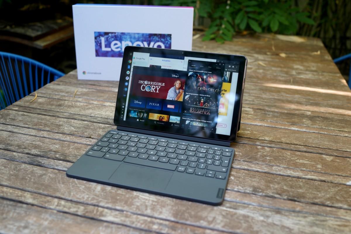 Lenovo IdeaPad Duet, une fois que l'on a connecté le clavier-pavé tactile// Frandroid