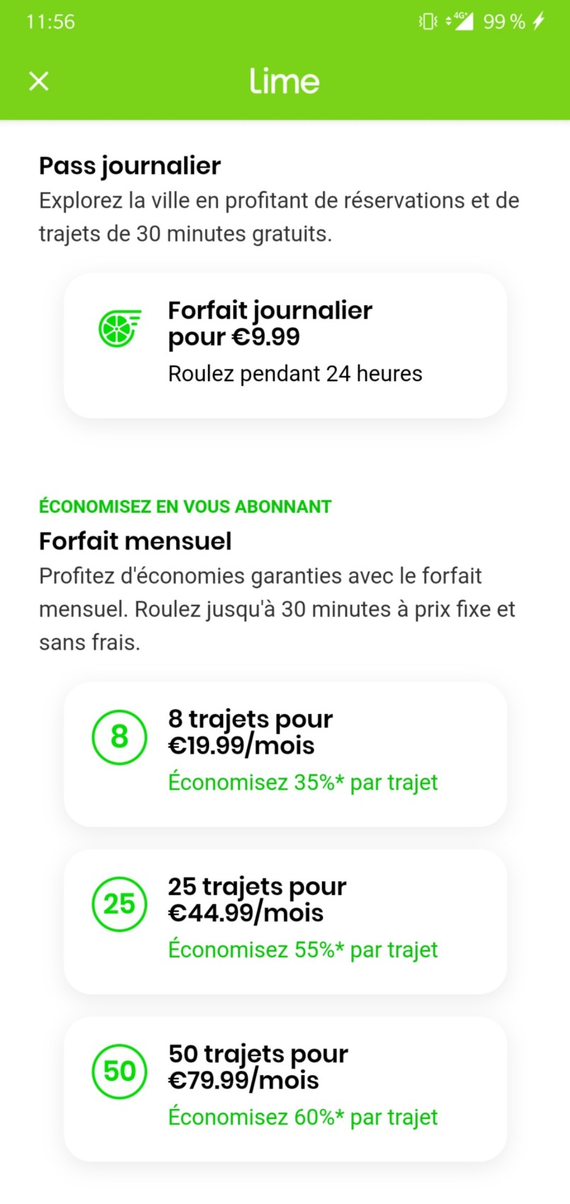 Forfait Lime