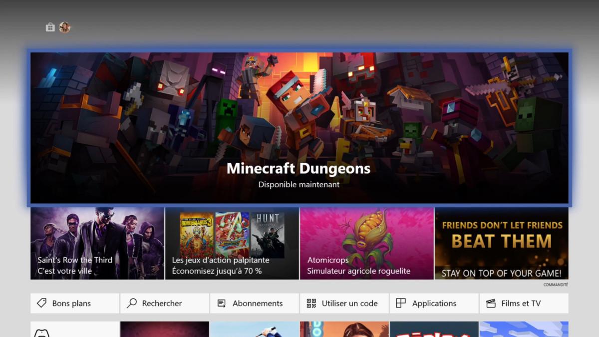 Le Microsoft Store de la Xbox One en juin 2020