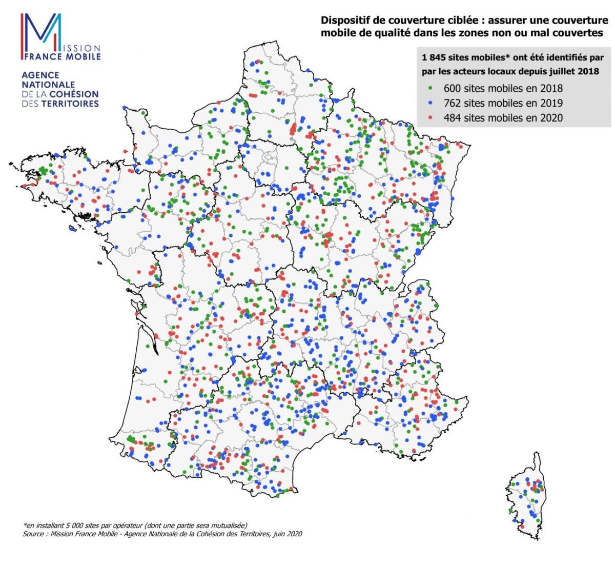 La carte des 1845 sites identifiés depuis 2018 comme prioritaires par le gouvernement