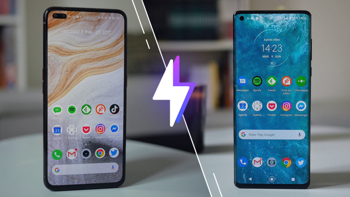 Le RealmeX50 Pro à gauche et le Motorola Edge à droite