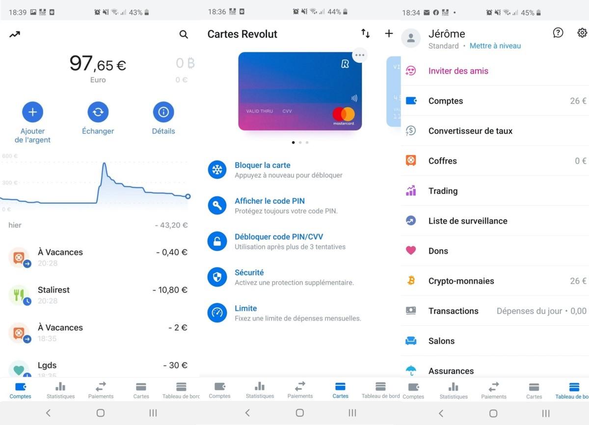 La page principale de l'application permet de voir en un coup d'œil ses dernières transactions, ainsi que les dépenses globales au cours des dernières semaines.