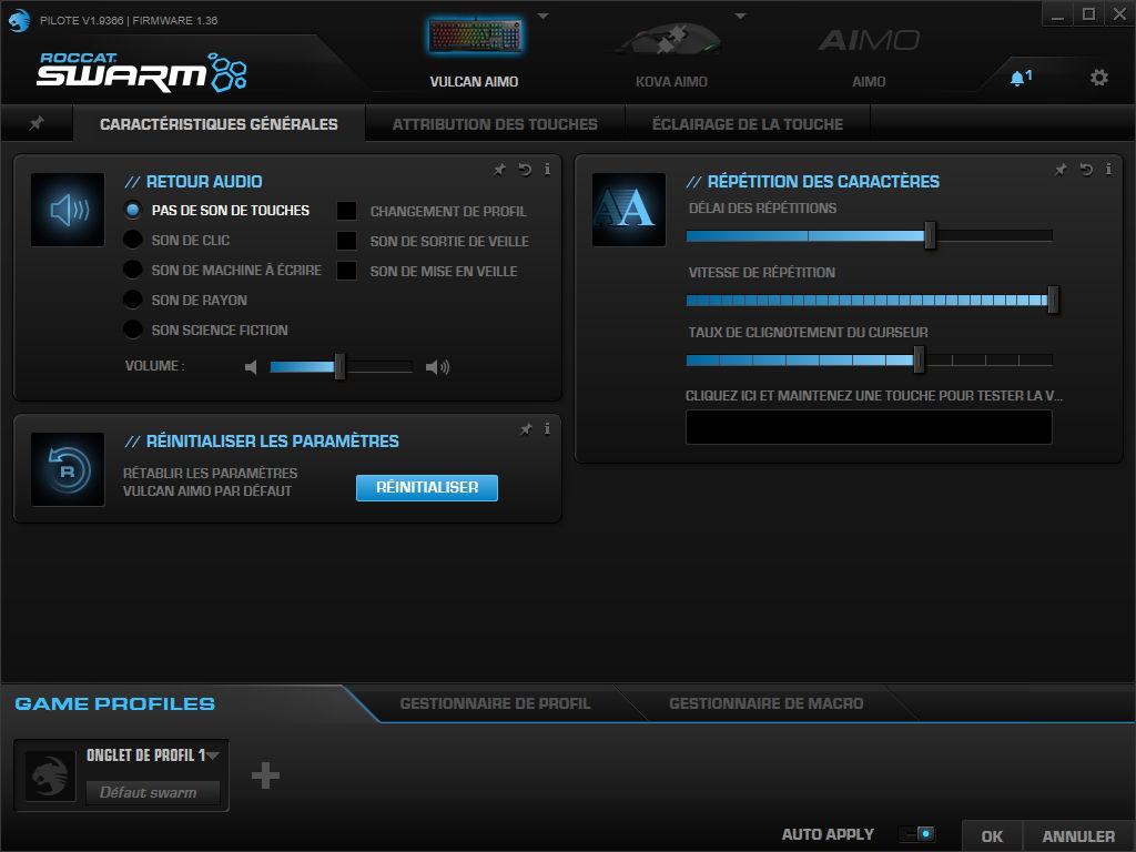 Roccat Vulcan 121 avec logiciel Roccat Swarm