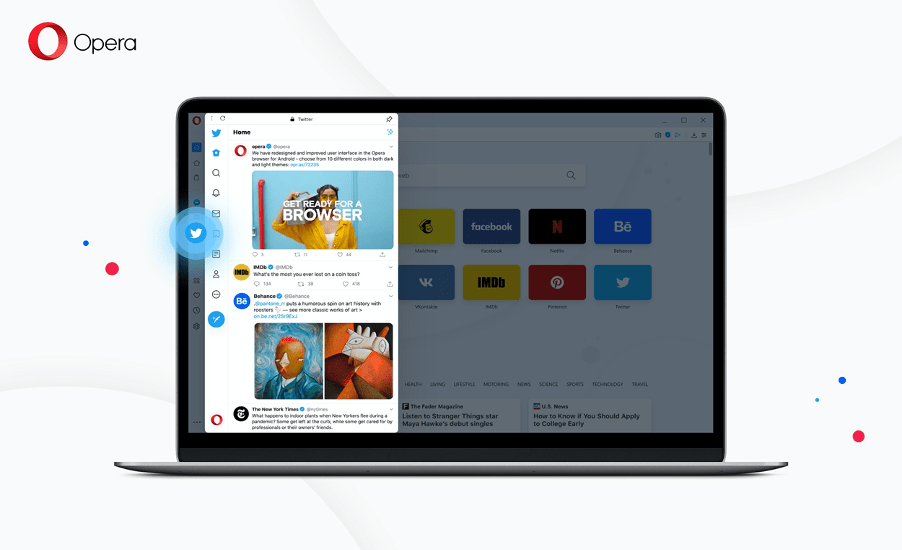L'intégration de Twitter dans le navigateur Opera