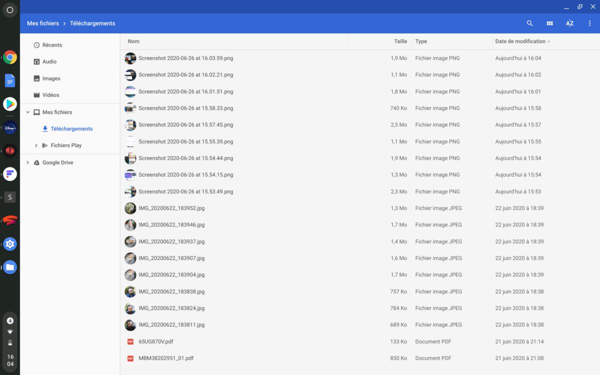 L'application Fichiers qui sert d'explorateur de fichiers sur Chrome OS