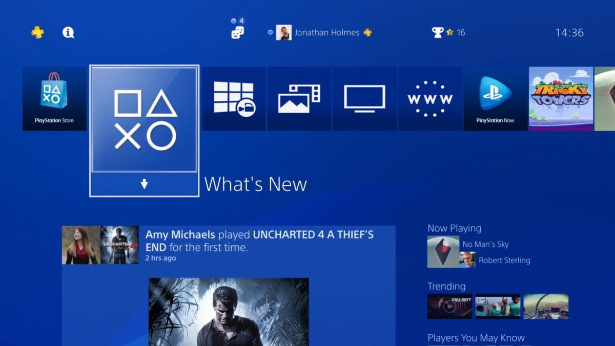 L'interface utilisée sur PlayStation4