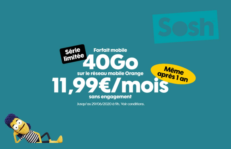 40 Go pour 11,99 €/mois même après un an — Nouvelle promo Sosh