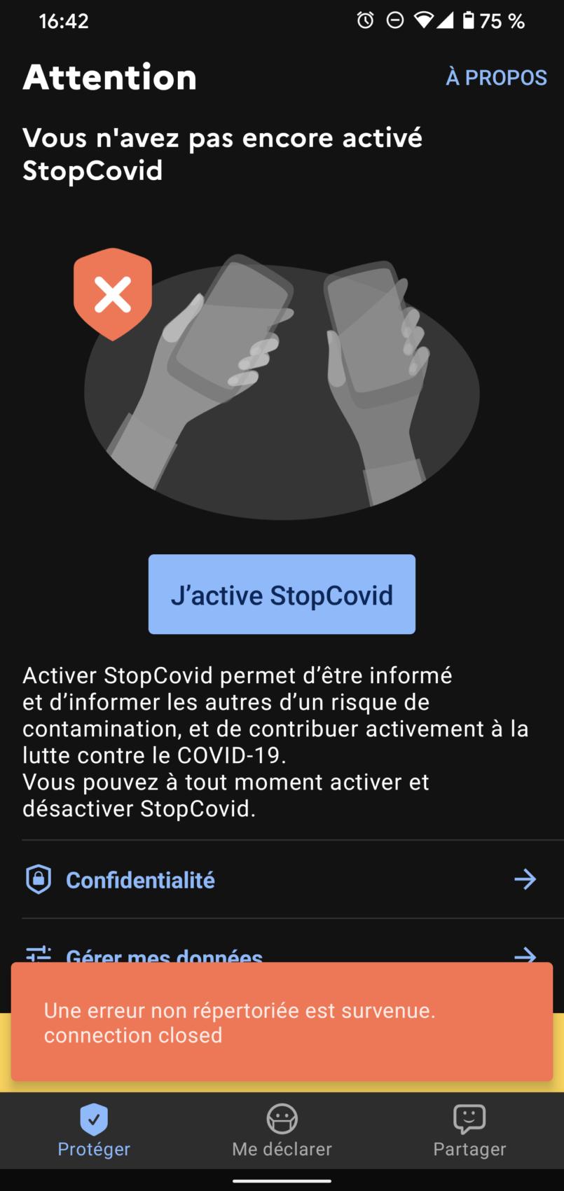 Erreur StopCovid