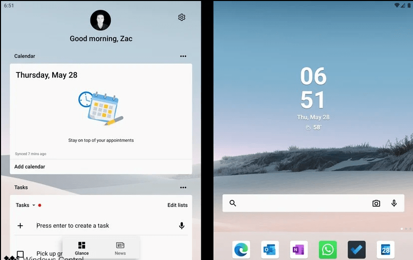 Le launcher de Microsoft Surface Duo