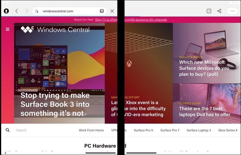 L'affichage d'une page web sur Microsoft Surface Duo