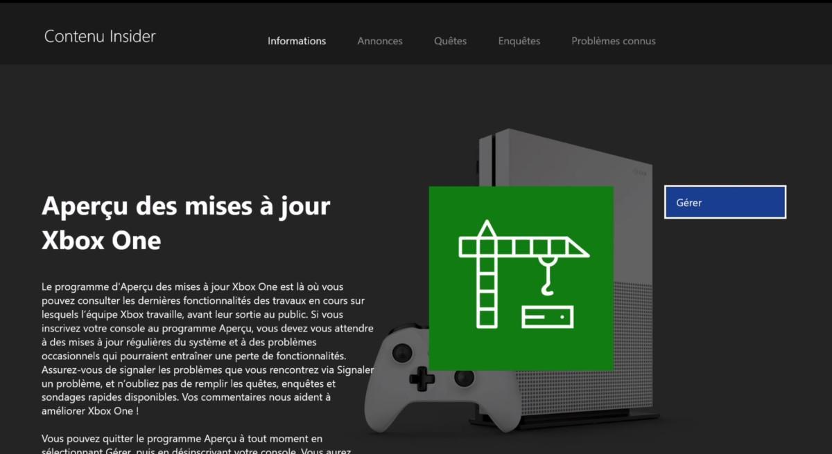 Il faut inscrire sa Xbox au programme