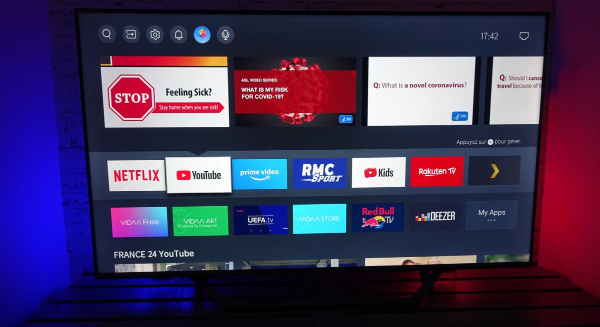 Netflix et YouTube affichent quelques miniatures des programmes visionnés.