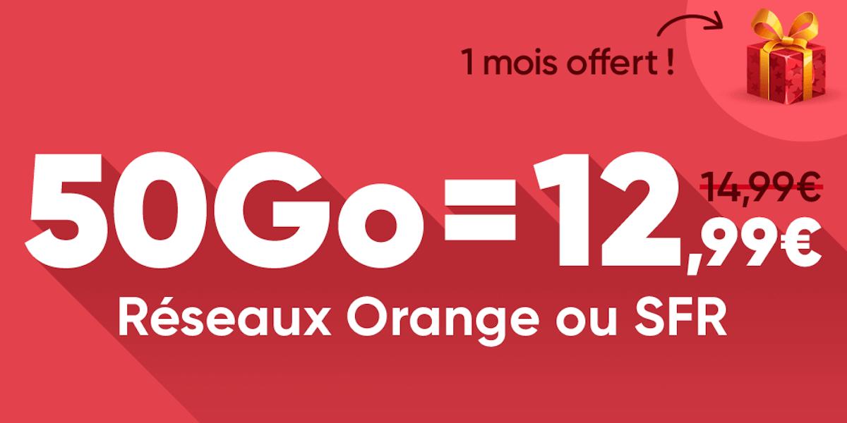 Forfait mobile : 50 Go à 12,99 euros sur les réseaux Orange ou SFR