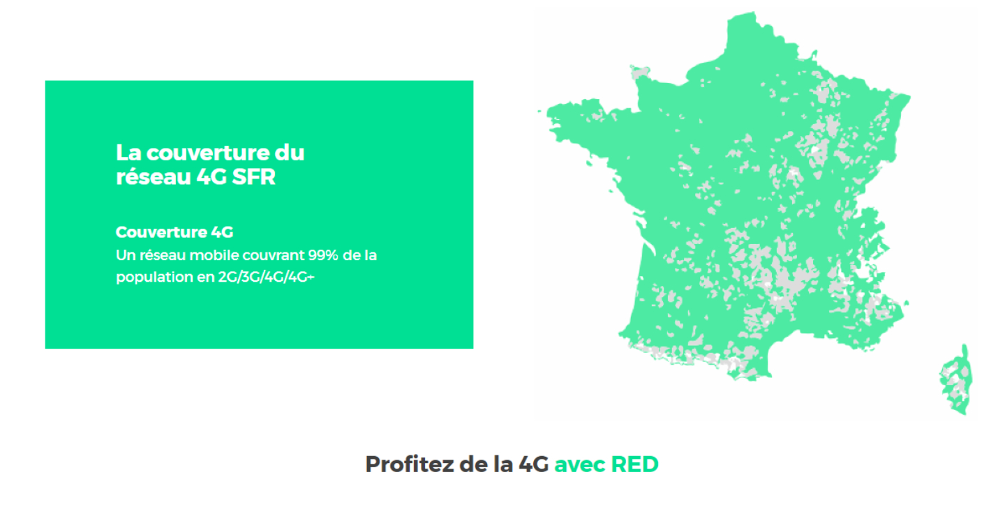 RED by SFR has a 4G mobile network which covers 99% of the French population.