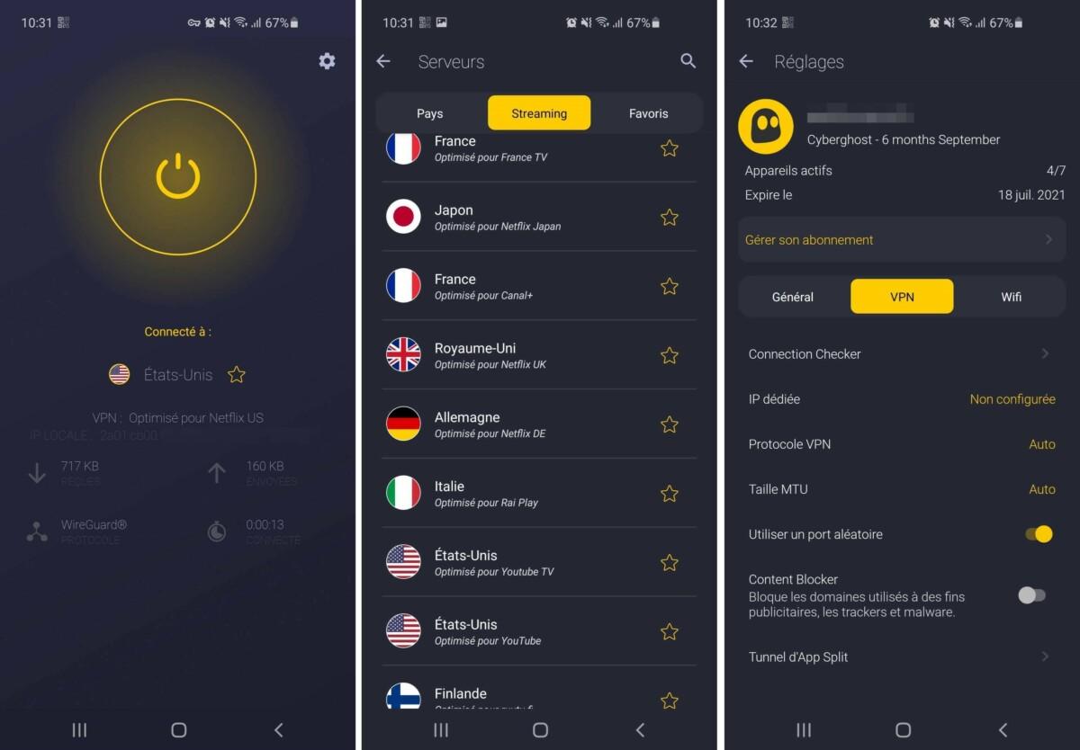L'interface mobile (ici sur Android) de CyberGhost est très pratique et vraiment réussie d'un point de vue esthétique.