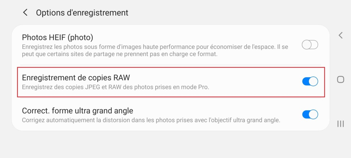 Dans les paramètres avancés de l'application photo, vous trouverez des options d'enregistrement qui permettentd'enregistrer les clichés en format RAW.