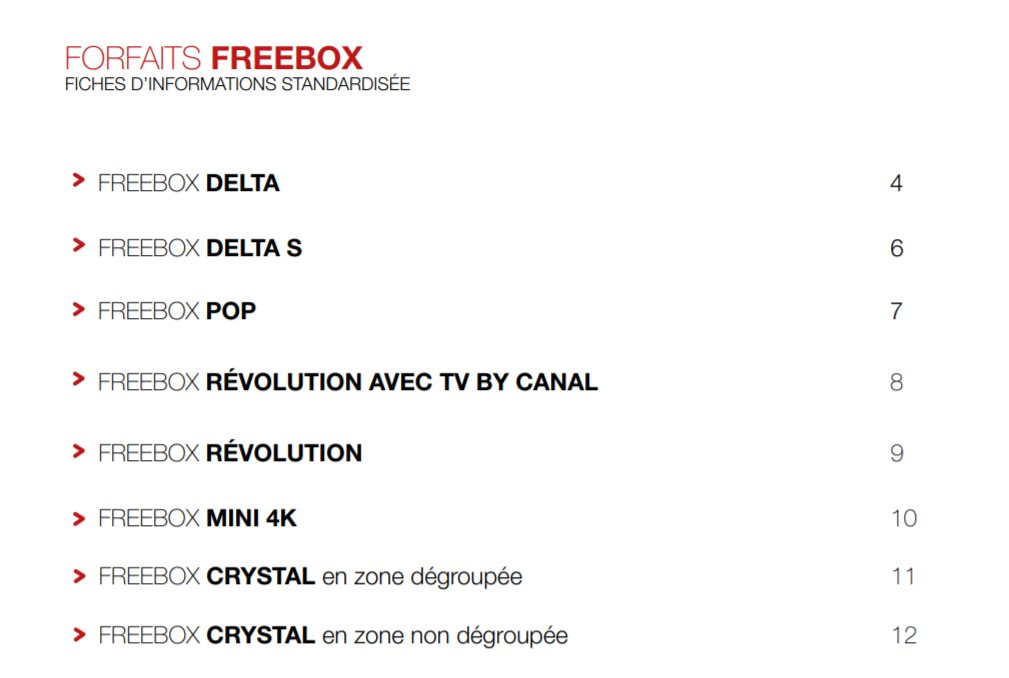 Le catalogue de Free au 7 juillet 2020