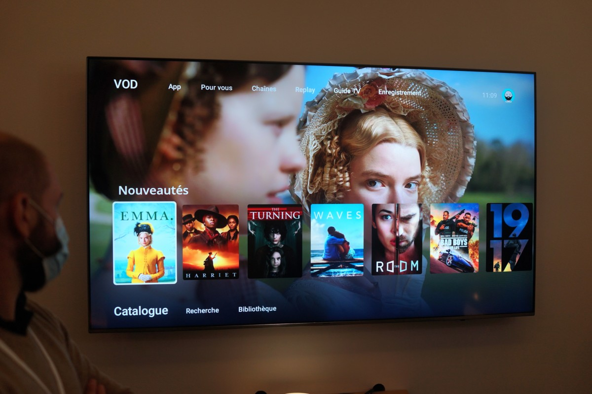 Interface Oqee de la Freebox Pop sous Android TV
