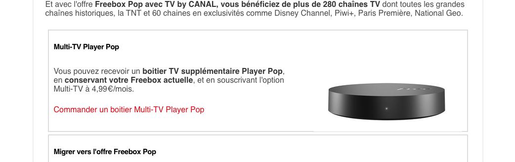 Le Player Pop est proposé aux abonnés