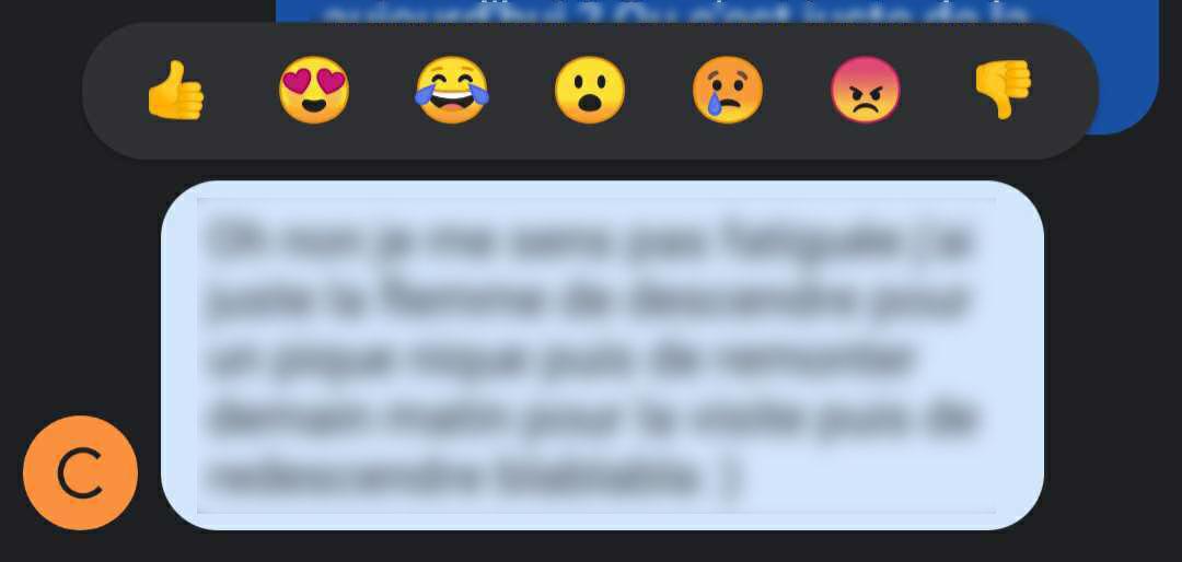 Emojis réaction Google Messages