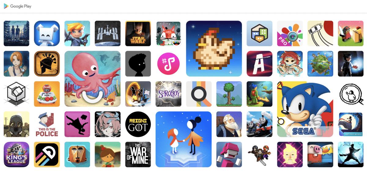 Des applis et jeux disponibles dans le Google Play Pass