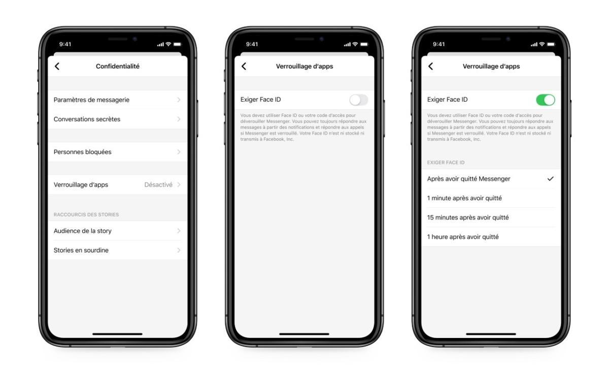 Facebook Messenger peut désormais verrouiller vos discussions avec Face ID