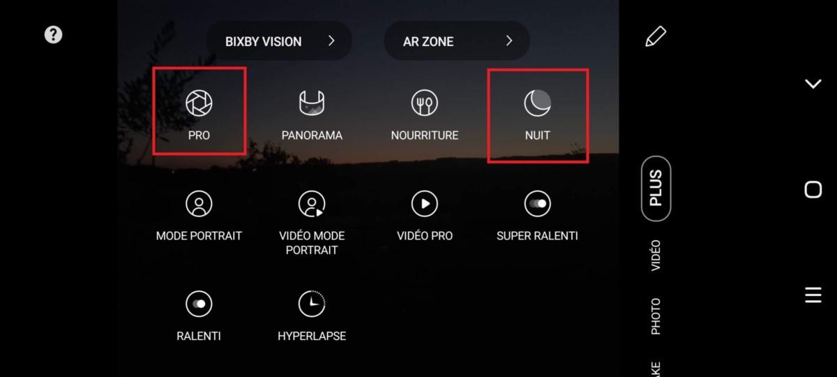 Sur le GalaxyS20, les modes Nuits et Pro se trouvent dans l'onglet plus. En maintenant votre doigt sur ces modes, vous avez la possibilité de les déplacer afin de les avoir en raccourci dans la barre inférieure de l'application photo.