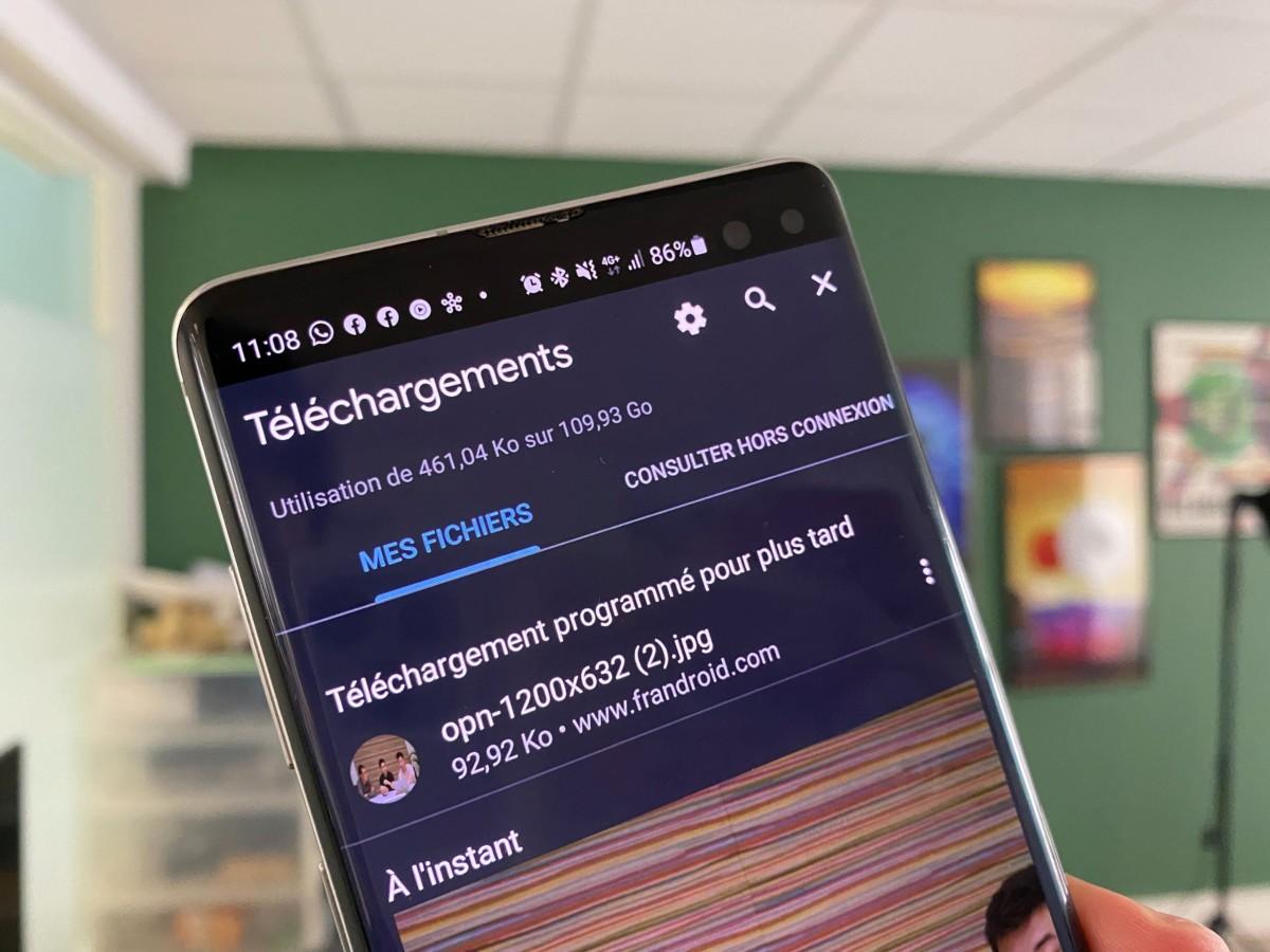 Programmer téléchargement sur Chrome Android