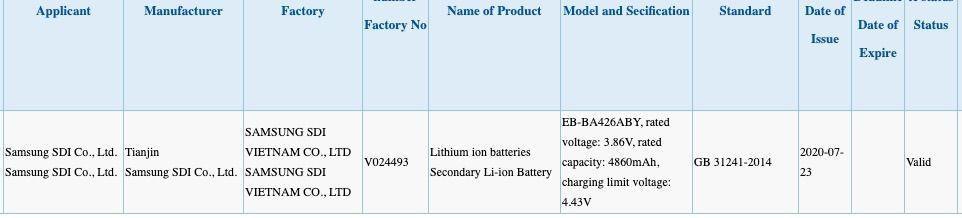 La fiche de certification 3C du Samsung Galaxy A42 5G
