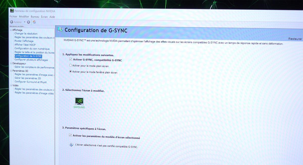 La compatibilité GSYNC encore non officielle