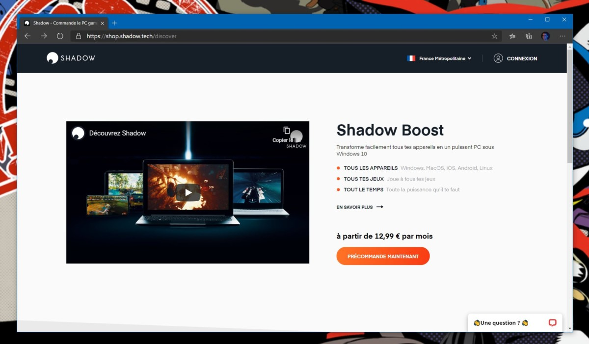 Le site officiel de Shadow en juillet 2020